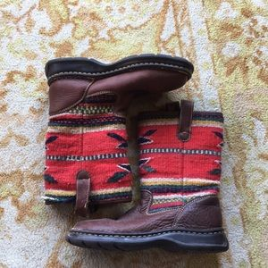 BORN Leather and Wool Boots